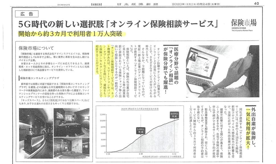 保険市場<参考資料:2020年6月24日 日経新聞朝刊>