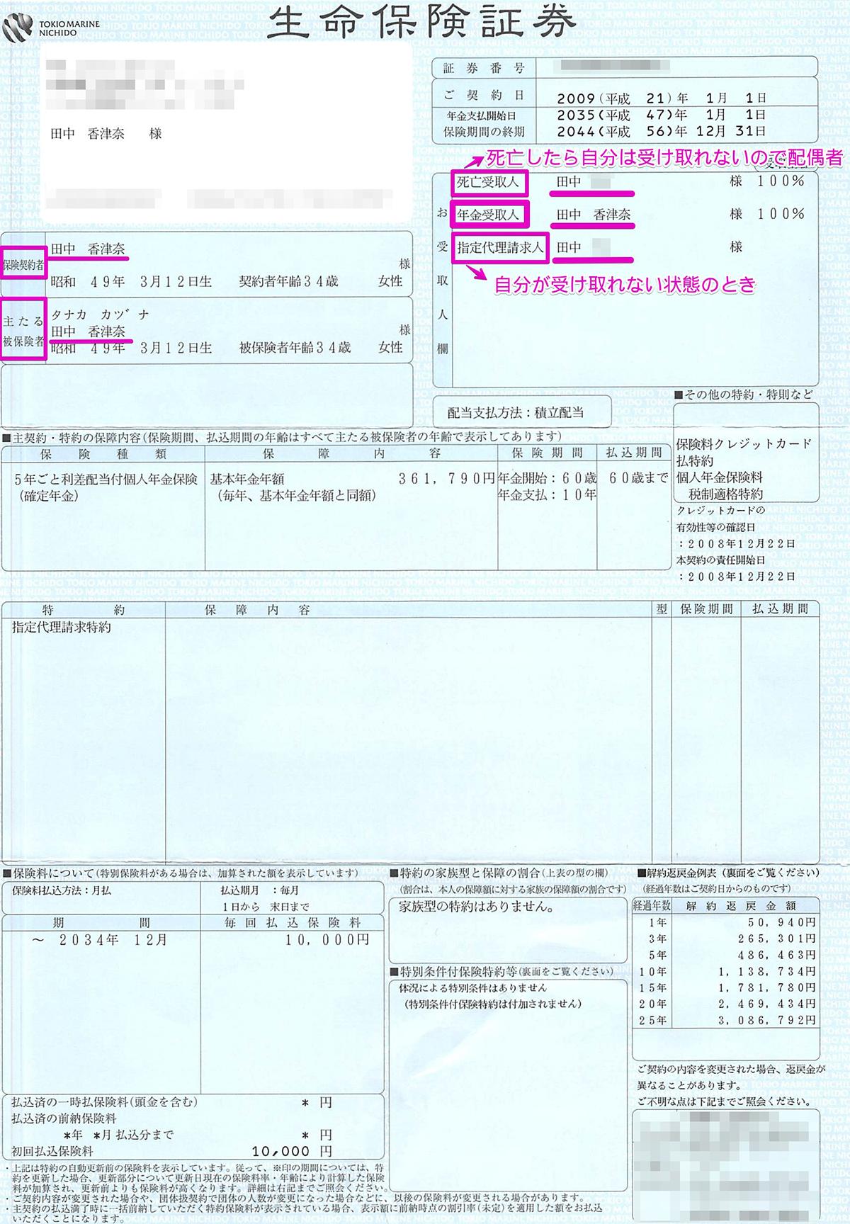 【年金保険】保険証券